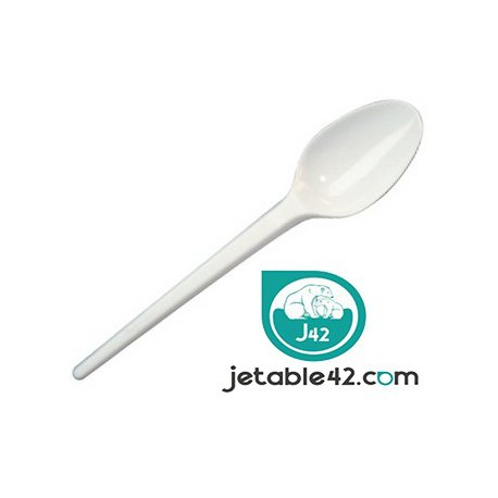 100 cuillères à dessert plastiques blanches - PH55214