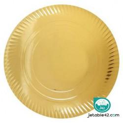 100 Assiettes dorées cartons 23 cm - 0316878